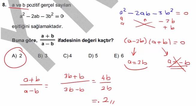 2016 LYSmat soru 8
